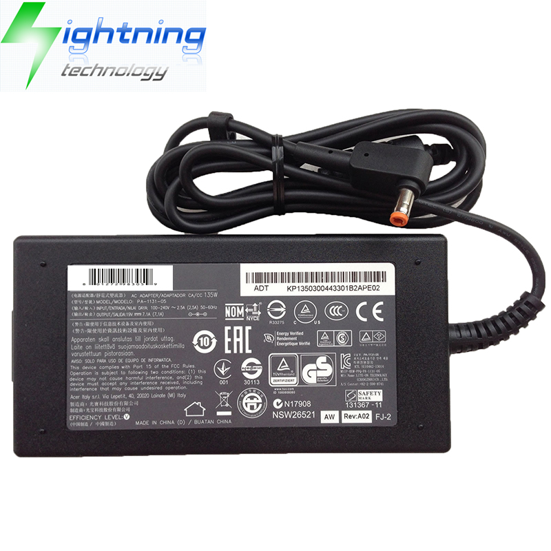 NEW Original 135W 19V 7.1A 5.5*2.5mm Charger For Liteon Laptop Adapter Aspire VN7-591G-70TG Notebook