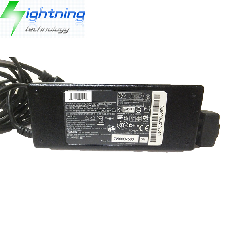 NEW Original Genuine 19V 4.74A 90W 7.4*5.0mm Laptop Charger For LG Adapter PA-1900-08 Notebook AC Ad